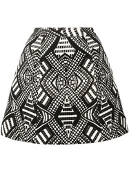 Alice Olivia Geometric Pattern A Line Skirt Black