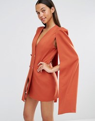 Lavish Alice Split Back Cape Dress Teracotta Tan