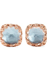 Larkspur And Hawk Jane Small Rose Gold Dipped Quartz Earrings Rose Gold Light Blue