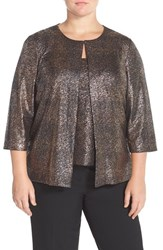 Plus Size Women's Alex Evenings Metallic Twinset
