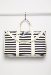 Forever 21 Striped Weekender Bag Navy Cream