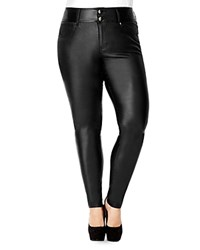 City Chic Faux Leather Skinny Jeans Black