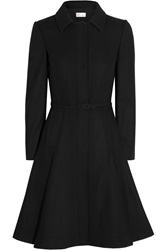 Red Valentino Flared Wool Blend Felt Coat Black