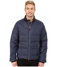 Calvin Klein Nylon Down Jacket With Faux Leather Collar Detail Navy Blazer Men's Coat
