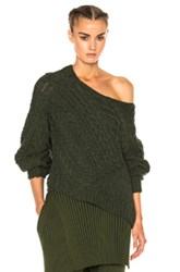 Baja East Wool Cashmere Cable Sweater In Green