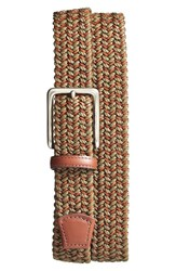 Men's Torino Belts Woven And Leather Belt Olive Cognac
