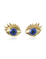 Bernard Delettrez Blue Enamel Eye Bronze Earrings
