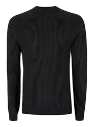 Topman Premium Grey Lambswool Blend Turtle Neck Ribbed Sweater