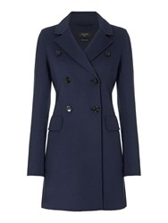 Max Mara Cinese Double Faced Button Up Wool Coat Navy