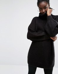 Monki Oversized Turtle Neck Knit Jumper Black