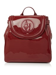 Armani Jeans Red Patent Backpack Red