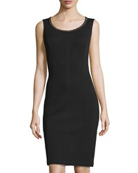 St. John Sleeveless Santana Knit Beaded Neckline Dress Black Gold