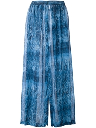 Amen Printed Wide Leg Trousers Blue