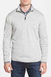 John W. Nordstrom Regular Fit Quarter Zip Merino Wool Pullover Gray