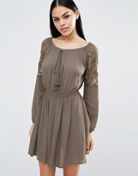 Pussycat London Skater Dress With Tie Detail And Lace Sleeves Khaki Green