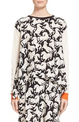Women's Stella Mccartney Horse Print Wool And Silk Asymmetric Sweater