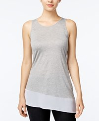 Kensie Asymmetrical Contrast Tank Top Heather Grey Combo