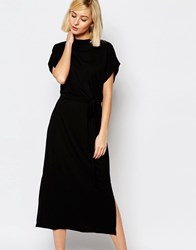 Selected Celia Midi Dress With High Neck Black