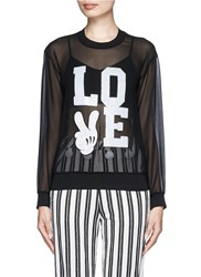 Mo And Co. 'Love' Mickey Mouse Applique Chiffon Top Black