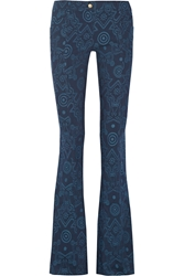 Versace Printed Stretch Canvas Flared Pants Blue