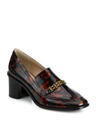 Tory Burch Berline Patent Leather Block Heel Loafers Tortoise Shell