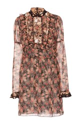 Anna Sui Deco Dotted Flowers And Leaves Dress Brown Pink White