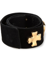 Christian Lacroix Vintage Cross Logo Detail Belt Black