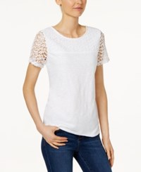 Charter Club Short Sleeve Lace Yoke Top Only At Macy's Bright White