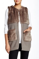 Fate Faux Fur Sweater Vest Gray
