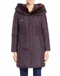 Tahari Quilted Faux Fur Trimmed Jacket Purple
