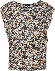 Soaked In Luxury Ruffled Floral Top Multi Coloured
