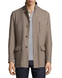 Luciano Barbera Wool Stand Collar Jacket Tan Brown