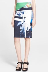 Clover Canyon 'Rhythm' Print Pencil Skirt Blue