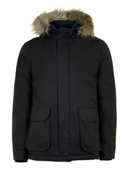 Topman Black Parka With Faux Fur Trim