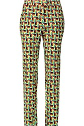 M Missoni Printed Cotton Blend Corduroy Tapered Pants Green