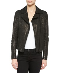 Elie Tahari Nancy Snake Embossed Lambskin Leather Jacket