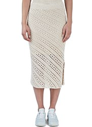Altuzarra Miller Crochet Knit Pencil Skirt Neutrals