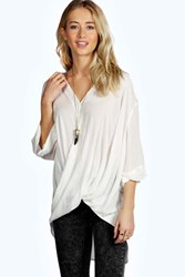 Boohoo Wrap Front 3 4 Sleeve Blouse White