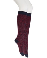 Hue Women's Pique Herringbone Knee High Socks Navy