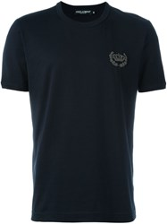 Dolce And Gabbana Embroidered Crown T Shirt Blue