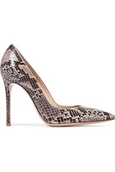 Gianvito Rossi Python Point Toe Pumps Beige