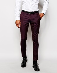 Selected Homme Exclusive Suit Trouser In Skinny Fit Burgundy