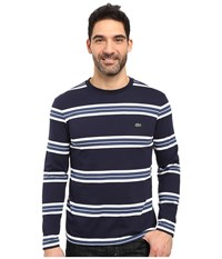 Lacoste Long Sleeve Crew Neck Stripe Tee Navy Blue White Philippines Blue Men's T Shirt