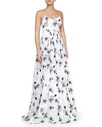 Tracy Reese Sleeveless Floral Print Organza Ball Gown
