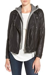 Treasure And Bond Women's Leather Moto Jacket With Removable Hooded Vest