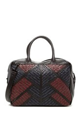 Christopher Kon Geo Patch Weave Crossbody Leather Satchel Black