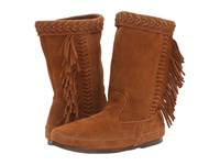 Minnetonka Luna Fringe Boot Brown Suede Women's Pull On Boots