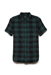 Forever 21 Checkered Cotton Shirt Green Black