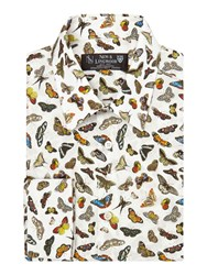 New And Lingwood Windsor Butterfly Print Shirt White