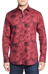 Men's Bugatchi Shaped Fit Long Sleeve Flower Pattern Sport Shirt